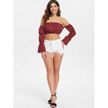 Off The Shoulder Crop Top - RED L
