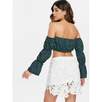 Off The Shoulder Crop Top - GREEN M