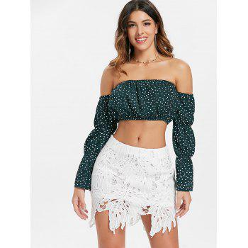 Off The Shoulder Crop Top - GREEN L