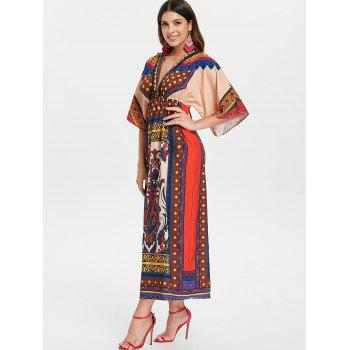 Elastic Waist Printed Bohemian Dress - FIRE ENGINE RED L