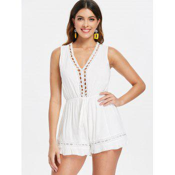 Crochet Panel Back Cut Out Romper - WHITE S