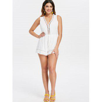 Crochet Panel Back Cut Out Romper - WHITE L