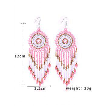 Dreamcatcher Design Beads Tassel Hanging Earrings - PINK