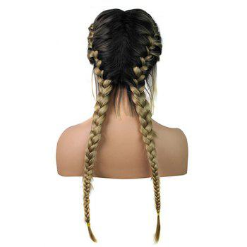 Long Center Parting Colormix Braids Synthetic Lace Front Wig - multicolor
