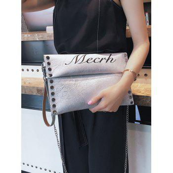 Casual Letter Studded Flapped Crossbody Bag - PLATINUM