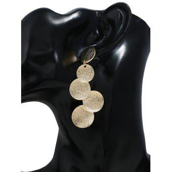 Simple Circular Coin Design Long Hanging Earrings - GOLD