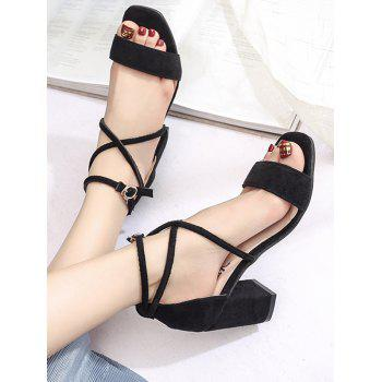 Crisscross Chunky Heel Chic Ankle Strap Sandals - BLACK 37