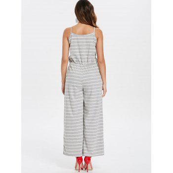Spaghetti Strap Striped Jumpsuit - LIGHT GRAY XL