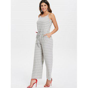 Spaghetti Strap Striped Jumpsuit - LIGHT GRAY 2XL