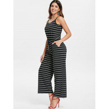 Spaghetti Strap Striped Jumpsuit - BLACK L