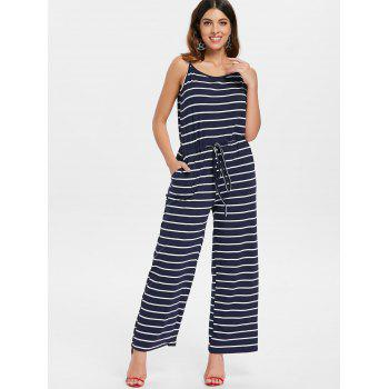 Spaghetti Strap Striped Jumpsuit - NAVY BLUE S