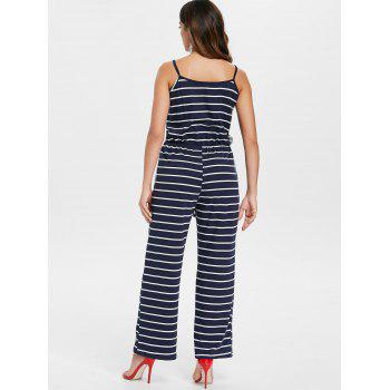 Spaghetti Strap Striped Jumpsuit - NAVY BLUE L