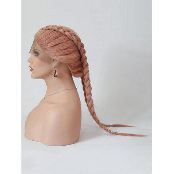 Long Center Parting Braids Cosplay Lolita Synthetic Wig - LIGHT PINK