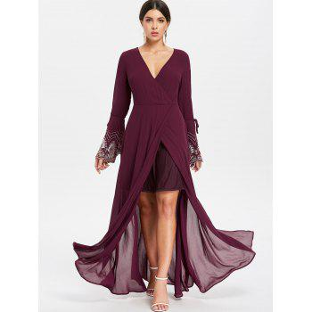 Floor Length Evening Surplice Dress - RED WINE XL