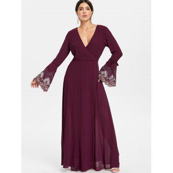 Floor Length Evening Surplice Dress - RED WINE 2XL