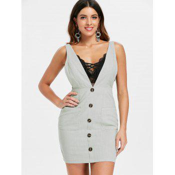 Front Pockets Plunging Neck Mini Dress - LIGHT GRAY S