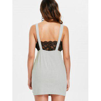 Front Pockets Plunging Neck Mini Dress - LIGHT GRAY M