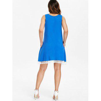 Lace Hemline Shift Dress - BLUE M