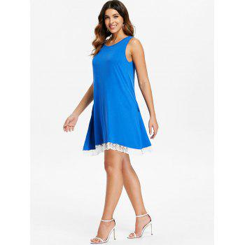 Lace Hemline Shift Dress - BLUE XL
