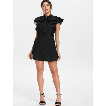 Tie Neck Ruffle Mini Sheath Dress - BLACK M