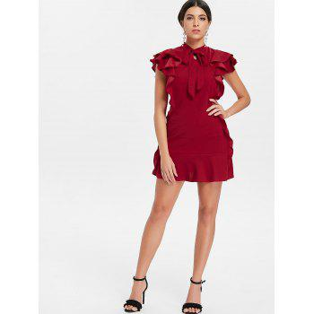 Tie Neck Ruffle Mini Sheath Dress - RED WINE S