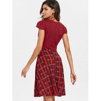 V Neck Printed Flared Dress - CHERRY RED S