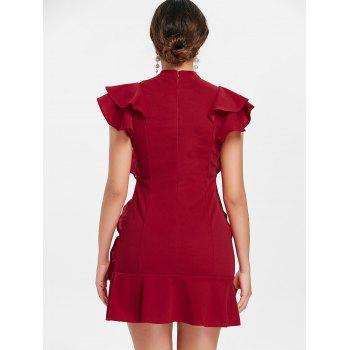 Tie Neck Ruffle Mini Sheath Dress - RED WINE XL