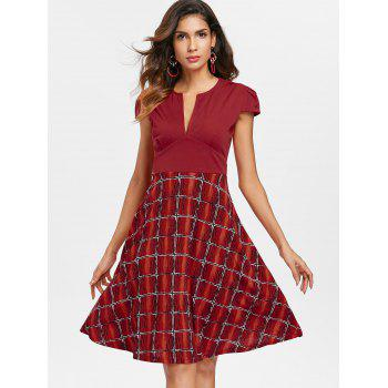V Neck Printed Flared Dress - CHERRY RED XL