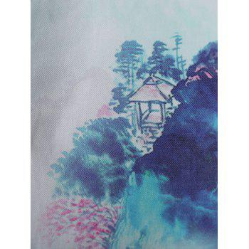 Chinese Painting Short Sleeve Shirt - multicolor L