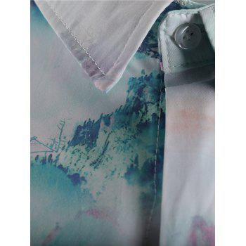 Chinese Painting Short Sleeve Shirt - multicolor 2XL
