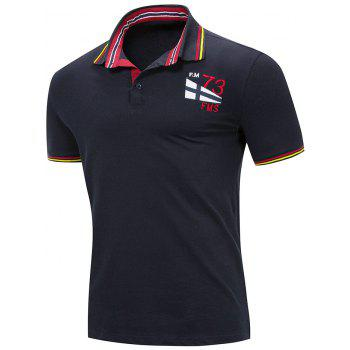 Embroidery Letter Stripe Trim Polo T-shirt - ROYAL BLUE XL