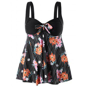 Plus Size Floral Print Backless Tankini Set - BLACK 2X