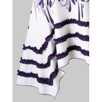 Plus Size Racerback Ruffle Panel Handkerchief Tank Top - PURPLE HAZE 2X