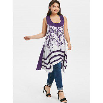 Plus Size Racerback Ruffle Panel Handkerchief Tank Top - PURPLE HAZE 5X
