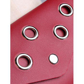 Hollow Out Rivets Funny Bag Skinny Waist Belt - CHERRY RED