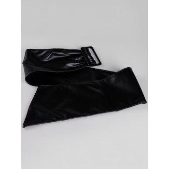 Unique Glossy Faux Leather Wide Waist Belt - BLACK