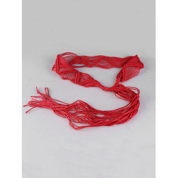 Bohemian Braided Rope Adjustable Belt - RED