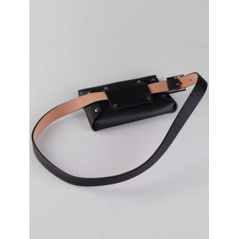 Hollow Out Rivets Funny Bag Skinny Waist Belt - BLACK
