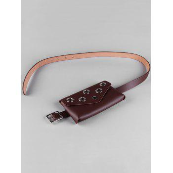 Hollow Out Rivets Funny Bag Skinny Waist Belt - COFFEE