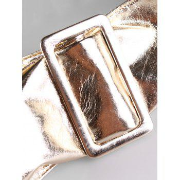 Unique Glossy Faux Leather Wide Waist Belt - GOLD