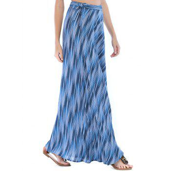 Lace Up Slit Wrap Printed Maxi Skirt - WINDOWS BLUE XL