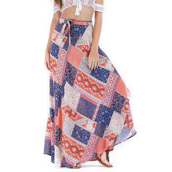 Asymmetrical Printed Vacation Lace Up Maxi Skirt - LIGHT PINK XL