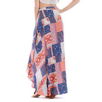 Asymmetrical Printed Vacation Lace Up Maxi Skirt - LIGHT PINK L