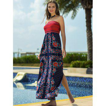 Strapless Floral Printed Vacation Dress - multicolor A XL