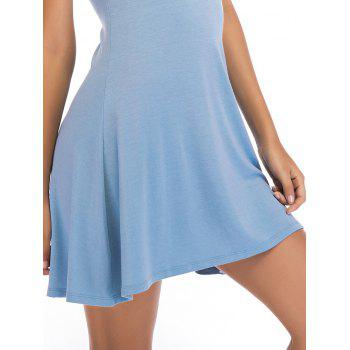 Short Sleeve Fit Casual Tunic Dress - BLUE GRAY M