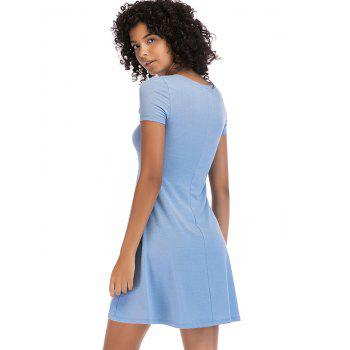 Short Sleeve Fit Casual Tunic Dress - BLUE GRAY S