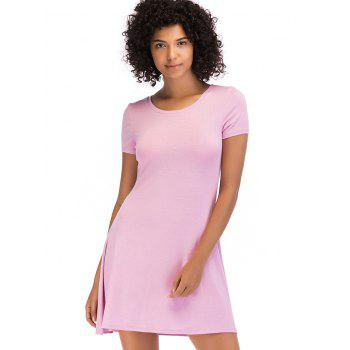 Short Sleeve Fit Casual Tunic Dress - LIGHT PINK L