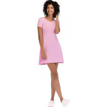 Short Sleeve Fit Casual Tunic Dress - LIGHT PINK S