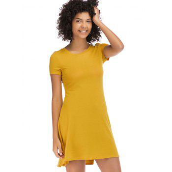 Short Sleeve Fit Casual Tunic Dress - BRIGHT YELLOW XL
