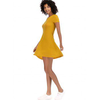 Short Sleeve Fit Casual Tunic Dress - BRIGHT YELLOW L